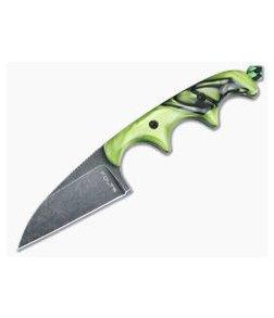 Alan Folts Custom Minimalist Wharncliffe Neck Knife Toxic Green Kirinite Black Washed CPM154