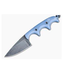 Alan Folts Custom Minimalist Drop Point Neck Knife Blue Glow Kirinite Black Washed CPM154