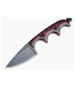 Alan Folts Custom Minimalist Drop Point Neck Knife Blood Red Kirinite Black Washed CPM154