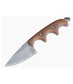 Alan Folts Custom Minimalist Drop Point Neck Knife Natural Micarta Tumbled CPM154