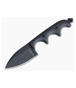 Alan Folts Custom Minimalist Spear Point Neck Knife Matte Black G10 Black Coated CPM154