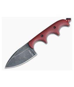 Alan Folts Custom Minimalist Spear Point Neck Knife Matte Red G10 Black Washed CPM154