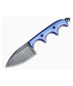 Alan Folts Custom Minimalist Spear Point Neck Knife Pearl Blue Kirinite Black Washed CPM154
