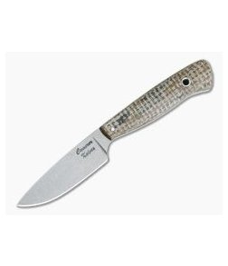 Camerer Knives Workman Drop Point Elmax Light Burlap Micarta Fixed Blade