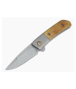 Roe Knives Custom Hostile Gentleman AEB-L Bolstered Vintage Paper Micarta Titanium Liner Lock Flipper 4243