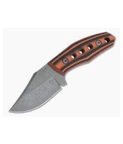 Tom Krein Custom Advocate Clip Point Acid Wash D2 Orange/Black G10 Tactical Fixed Blade 4246