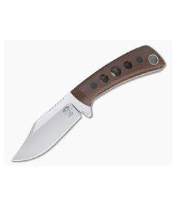 Tom Krein Custom TK-4 Mini-Bowie Brown Canvas Micarta Satin Nitro-V Fixed Blade 4332