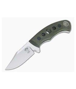 Tom Krein Custom Pocket Bowie Green Linen Micarta Satin Nitro-V Fixed Blade 4333