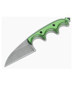 Alan Folts Custom Minimalist Wharncliffe Tumbled CPM-154 Toxic Green/Black G10 Fixed Blade Neck Knife 4632
