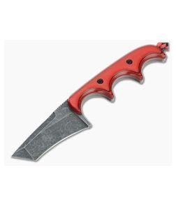 Alan Folts Custom Minimalist Tanto Blackwash CPM-154 Cherry/Black G10 Fixed Blade Neck Knife 4643