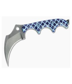 Alan Folts Custom KeraMinimalist Tumbled CPM-154 Blue Fish Scale Acrylic Fixed Blade Neck Knife 4646