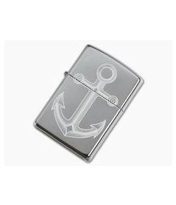 Zippo Lighter Polished Chrome Anchor Design