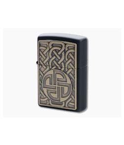 Zippo Windproof Lighter Antique Brass Norse Emblem Matte Black 49538