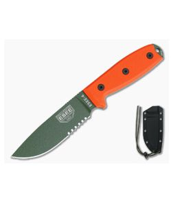 ESEE 4S Part Serrated OD Blade Orange G10