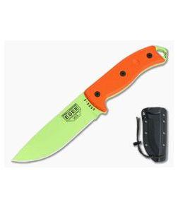 ESEE 5P Venom Green Orange G10 with Black Kydex Sheath