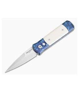 "Protech Knives Godson ""Blues"" Multi-Color Anodized Satin Blade Ivory Micarta Inlays 710"