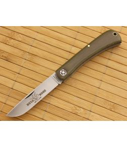 Farm and Field Tool Bullnose Work Knife Green Linen Micarta