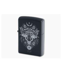 Zippo Lighter Aztec Wolf Matte Black Windproof Lighter 77415