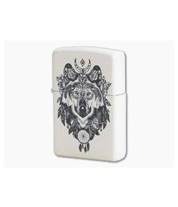 Zippo Lighter Matte White Aztec Wolf 79482