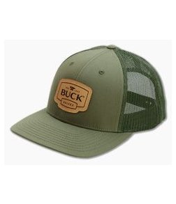 Buck Knives OD Green Leather Patch Mesh Back Adult Hat 89139