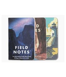 Field Notes National Parks | Yosemite, Acadia, Zion Limited Edition Graph Paper Memo Notebook 3 Pack