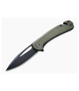 CIVIVI Rip C2017B Black Stonewashed Drop Point Green Micarta Liner Lock Flipper w/ Seatbelt Cutter