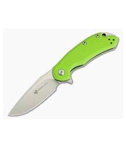 Steel Will Cutjack Mini M390 Flipper Green G10 Liner Lock C22M-2GR
