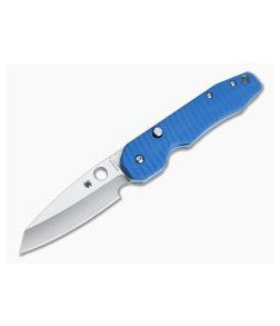 Spyderco Smock Top Flipper Blue Grooved G10 Putman Custom Scales
