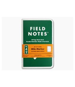 Field Notes Mile Marker Limited Edition Dot Graph Paper Memo Notebook 3 Pack