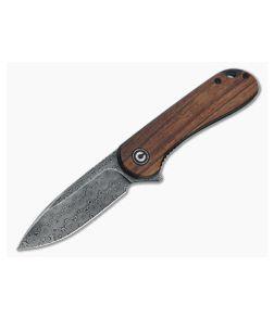 CIVIVI Elementum Black Damascus Cuibourtia Wood Liner Lock Flipper C907DS-2