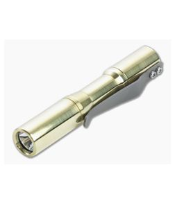 CWF Lights Micro Arcadian Machined Satin Brass Click 4000k LED Custom Flashlight