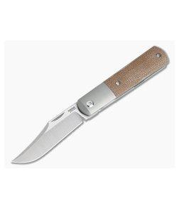 Pena Knives X Series Front Flipper Barlow Bolstered Natural Canvas Micarta