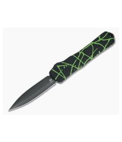 Heretic Knives Manticore-X Double Edge DLC S35VN Black Green Splash OTF Automatic H032-6A-GS