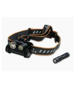 Fenix HM65R 1400 Lumen Rechargeable LED Headlamp + E01 V2.0 Flashlight HM65RL2BK
