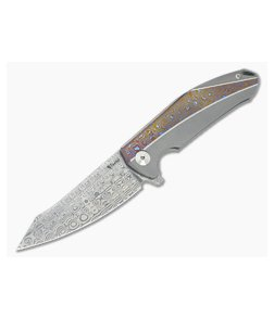 Reate Knives K-1 Mokuti Titanium Damasteel Flipper