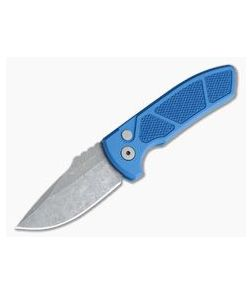 Protech Knives Les George SBR Acid Wash Blade Knurled Blue Aluminum Handle LG415