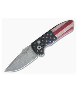Protech Knives Les George SBR Acid Wash Blade Vintage Flag Aluminum Handle LG440