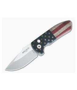 Protech Knives Les George SBR Stonewashed Blade Vintage Flag Aluminum Handle LG440