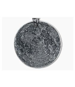 """Shire Post Mint Full Moon 1"""" Silver Pendant Chain Necklace"""