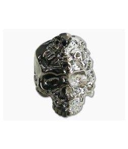 Schmuckatelli Mind Skull Bead Split Finish Hematite/Rhodium Plated Pewter