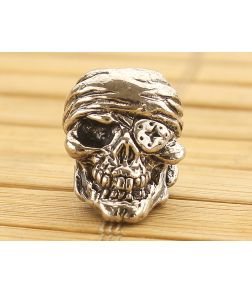Schmuckatelli One-Eyed Jack Skull Bead Antique Rhodium Plated