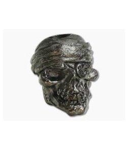 Schmuckatelli One-Eyed Jack Skull Bead Hematite Matte Finish