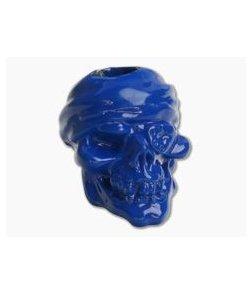 Schmuckatelli One-Eyed Jack Skull Bead Blue Powder Coat