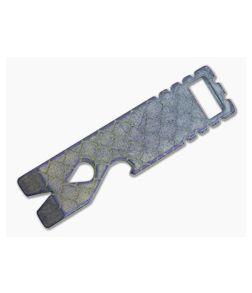 Qerim 37 V2 Worker Titanium Pry Tool Stonewashed Dragon Scale Engraved Anodized 011