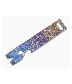 Qerim 37 V4 Worker Titanium Pry Tool Splatter Engraved Satin Gradient Anodized 014