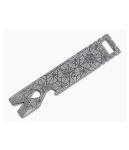 Qerim 37 V4 Worker Titanium Pry Tool Stonewashed Geometric Engraved 018