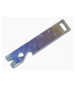 Qerim 37 V4 Worker Titanium Pry Tool Gradient Anodized Fingerprint Engraved 021