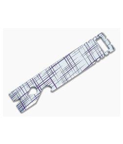 Qerim 37 V4 Worker Titanium Pry Tool Satin Anodized Crosshatch Engraved 022