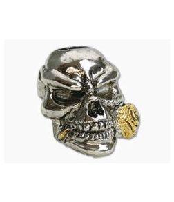 Schmuckatelli Rose Skull Bead 2-Tone Rhodium & Gold Pewter