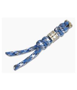 Chris Reeve Small Sebenza 31 Lanyard Bucky Blue with Gold Dot Bead